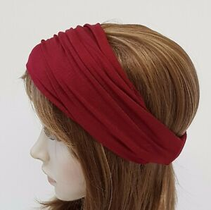 Burgundy headband, wide headband, elasticated headband, women's bandanna