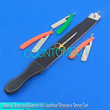 5PCS MENS CLASSIC SHAVING RAZORS WITH LEATHER SHAPING STROP SET NEW