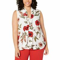BAR III Women's Ivory Multi Plus Size Floral Tie-neck Blouse Shirt Top 1X TEDO