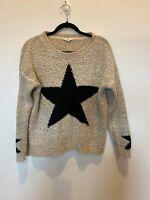Promesa Tan Beige Black STAR Fuzzy Knit Sweater Long sleeve Women's Medium EUC