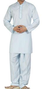 Men's Embroidered Indian Pakistani Punjabi Style Kurta Shalwar Suit, XS - XXXL