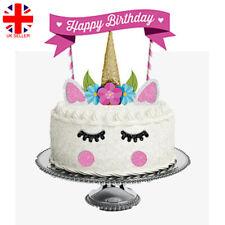 11x Glitter Unicorn Happy Birthday Cake Topper Banner Decoration Kids Party DIY