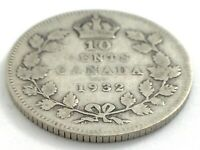 1932 Canada 10 Ten Cent Silver Dime Canadian Circulated George V Coin L508