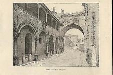 Stampa antica FANO scorcio Arco di Augusto Pesaro Urbino 1892 Old antique print