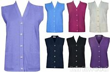 Button Regular Size Sleeveless Jumpers & Cardigans for Women
