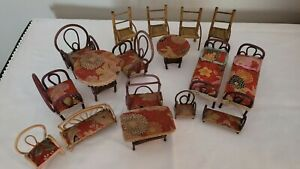 Vintage Bamboo Rattan Wicker Doll House Furniture Set 17 pieces Made in Japan