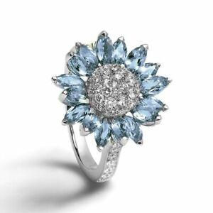 925 Sterling Silver White Sapphire & Aquamarine Bride Sunflower Engagement Ring