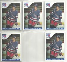 Tomas Sandstrom 1985-86 Topps New York Rangers 5-card ROOKIE RC Lot