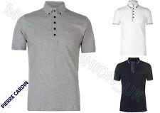 New Mens Pierre Cardin Cotton Lightweight WovenPrint Collar Polo Shirt S-XXL