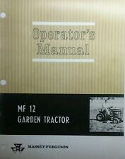 Massey Ferguson MF 12 Garden Tractor & Implement Owner & Parts (2 Manuals) 212pg