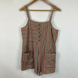 The Hidden Way Womens Playsuit Size 14 Multicoloured Striped Sleeveless