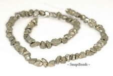 7MM-6MM PALAZZO IRON PYRITE GEMSTONE RUGGED NUGGET PEBBLE LOOSE BEADS 15.5""