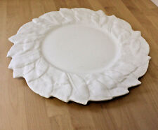 """ESTE C.E. Large 13"""" White Platter Charger with Leaf Design Made in Italy"""