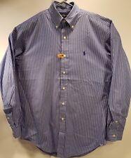 Ralph Lauren Mens Classic Fit Button Down Shirt - Blue White Striped Sz S 14-1/2