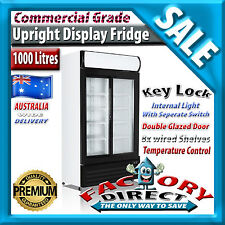 1000lt Litre Commercial Home Beer Restaurant 2 Door Glass Upright Display Fridge