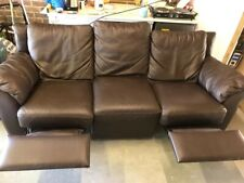 Leather 3 Seater 2 Seater 1 Armchair Recliner Sofa Suite - Brown - Good Cond.