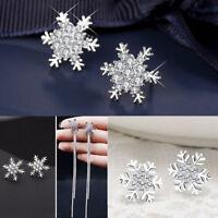 925 Silver Stud Earrings Snowflake Rhinestone Crystal Christmas Party Jewelry