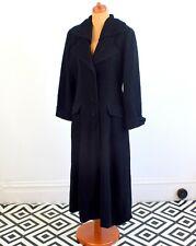 Women's Vintage 40's 50's Long Black Wool Coat Retro Goth Steampunk 14