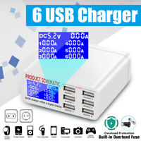 Smart 6 Ports Multi USB Charger Station Adapter LCD Display Security Protection