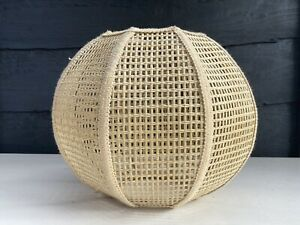 Vintage Rattan Woven Globe Shaped Octagonal Pendant Light Shade MCM Tiki Boho