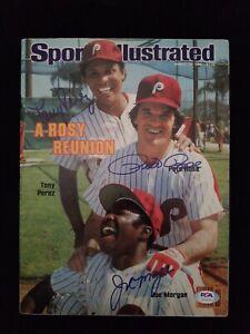 Sports Illustrated 3/14/83 Perez, Rose & Morgan autographed PSA/DNA COA