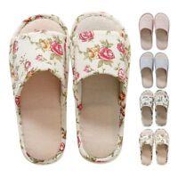 Women Men Anti-slip Linen Plaid Home Indoor Open Toe Flat Shoes Slippers Sandals