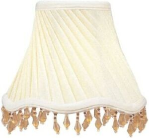 Livex Lighting-Ivory Twist Scallop Bell Clip Shade with Amber Beads-NEW-FAST