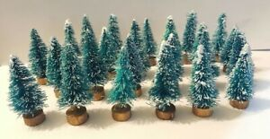 LOT of 14 Mini GREEN Miniature Sisal Bottle Brush Snow Flocked Christmas Trees