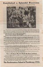 1910 Advertising Flier w/ Photo Northwestern School of Taxidermy