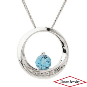 Estate Diamond 0.30ct Blue Topaz 10K Gold Small Circle Cluster Pendant NR