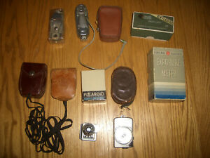 lot of 11 vintage light meters and flash reflectors