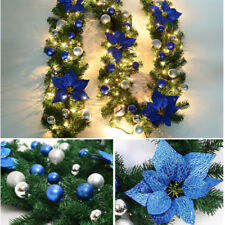 christmas pre lit decorated garland fireplace tree decoration 40 led light 9ft01 blue - Blue Christmas Decorations