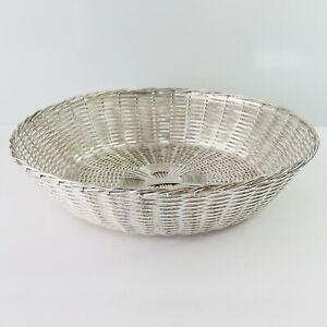 Vintage Galleon Silverplate Wire Weave Fruit Rolls Woven Serving Food Basket