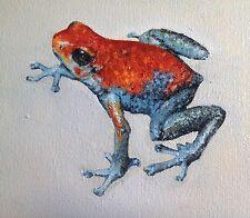 FROG POISON DART MINI OIL PAINTING RED BLUE ORIGINAL REAL ART 6X6 D Warren USA