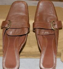 Smartshoe Womens Brown Slide Size 9M Chunky Heel 2.5 inches
