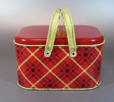 Vintage LUNCH BOX Metal Original LUNCHBOX 1950's 1960's Check GSW