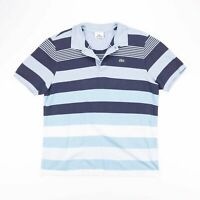 Vintage LACOSTE Blue Striped Casual Polo Shirt Size Mens Medium