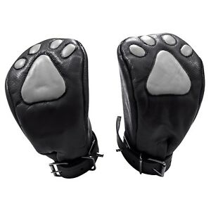 REAL LEATHER MITTS LOCKABLE AND FOAM PADDED FIST BONDAGE MITTS WITH PAW LOGO