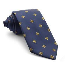 Corbata Cruz de Jerusalén dorada y fondo azul Marino