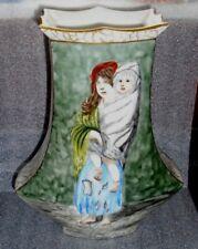 fine antique hand painted European porcelain vase Gustav Dore Homeless art