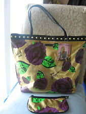 BETSEY JOHNSON SKULL roses,gold handbag  SATCHEL,PURSE tote+ cosmetic,clutch