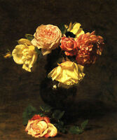 Beautiful Oil painting Henri Fantin Latour - White and Pink Roses in landscape