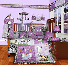 Baby Boutique - Safari - 14 Pcs Girl Nursery Crib Bedding Set incl. Lamp Shade