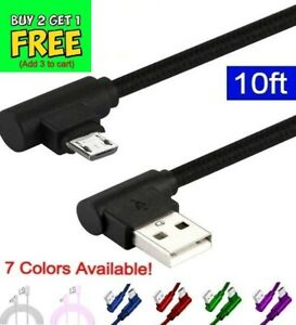 10FT 90 Degree Angle Fast Charge Micro USB Cable Rapid Power Sync Cord Charger L
