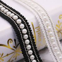 2yds Pearl Beaded Lace Trim Braid Metal Chain Ribbon Clothes Fabric 0.78'' Width