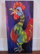 Rockin Rooster Original Oil Pastel/Acrylic Paint/Canvas Purple Red Funky Bright
