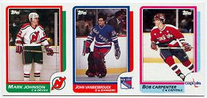 1985-86 Topps JOHN VANBIESBROUCK RC BOB CARPENTER Vault Blank Back Uncut Sheet