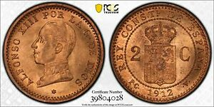 1912-PCV Spain 12 in Star 2 Centimos PCGS MS65 Red