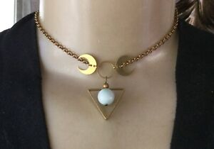 Moon Phases Necklace Brass Crescent Pendant W/ Green Moonstone Choker Chain
