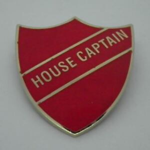 House Captain Enamel School Shield Badge - Red